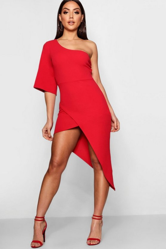 One Shoulder Asymmetric Midi Dress