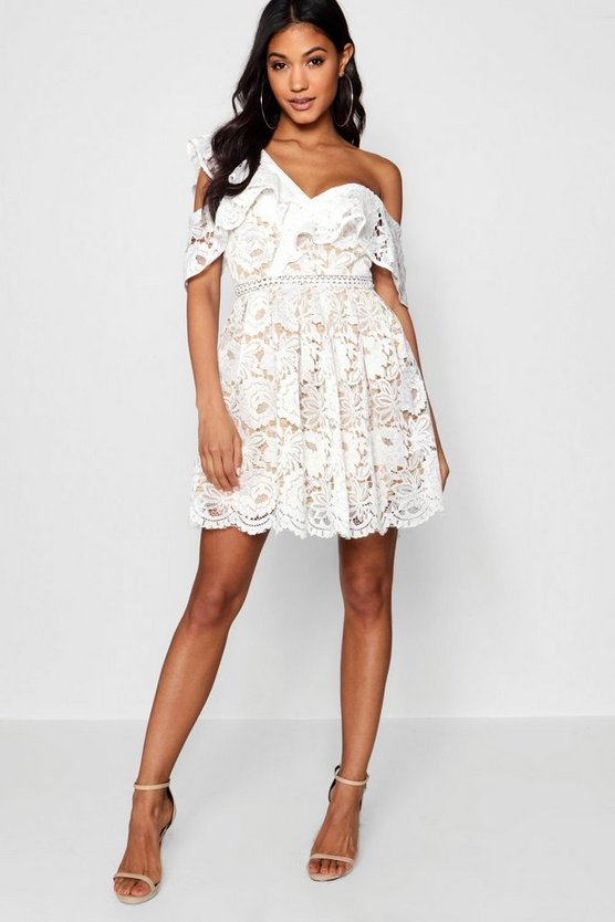 Tiffany Lace Off the Shoulder Skater Dress