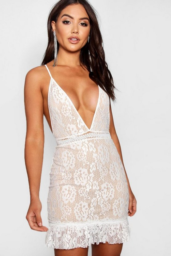 Lace Ruffle Hem Bodycon Dress