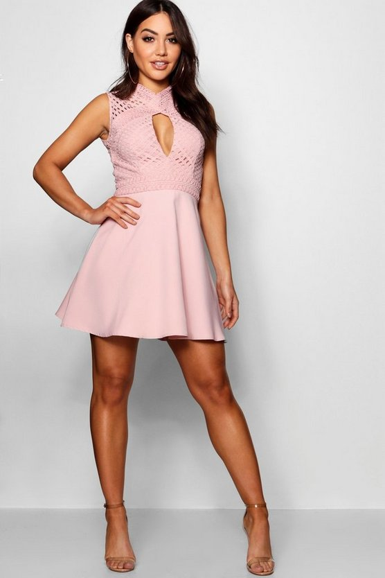 Lace Cut Out Detail Skater Dress