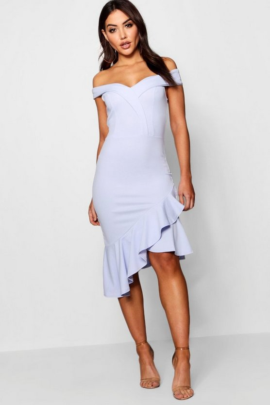 Off the Shoulder Ruffle Hem Midi Dress