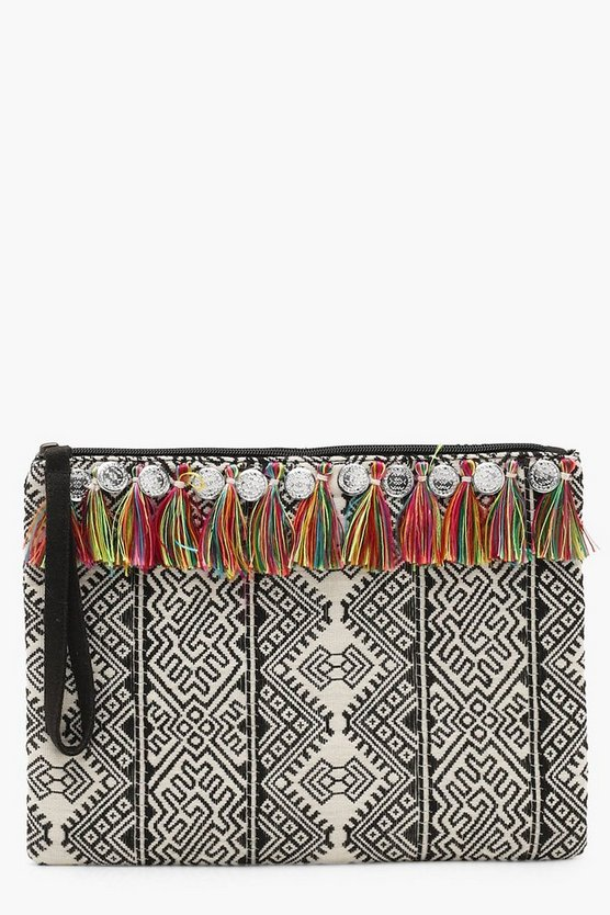 Multi Tassel And Coin Woven Clutch