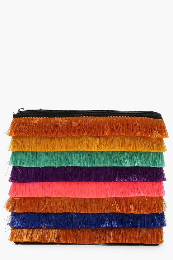Multi Colour Fringe Clutch