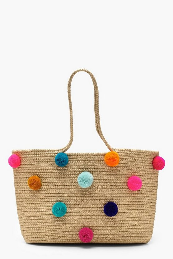 Multi Colour Pom Beach bag