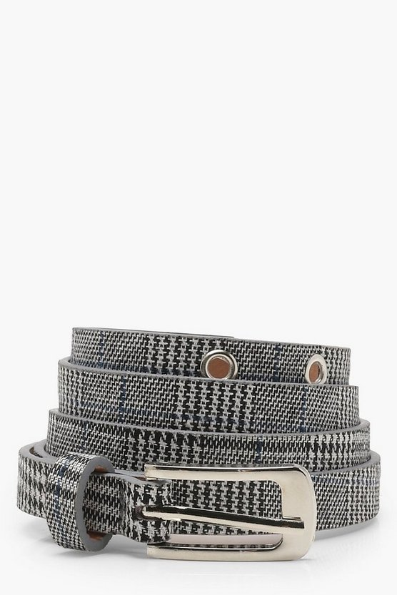 Lucy Check Eyelet Skinny Belt by Boohoo