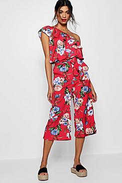 Gia Zweiteiler bestehend aus Oberteil mit einer freien Schulter und Hosenrock in tropischem-Print - Boohoo.com
