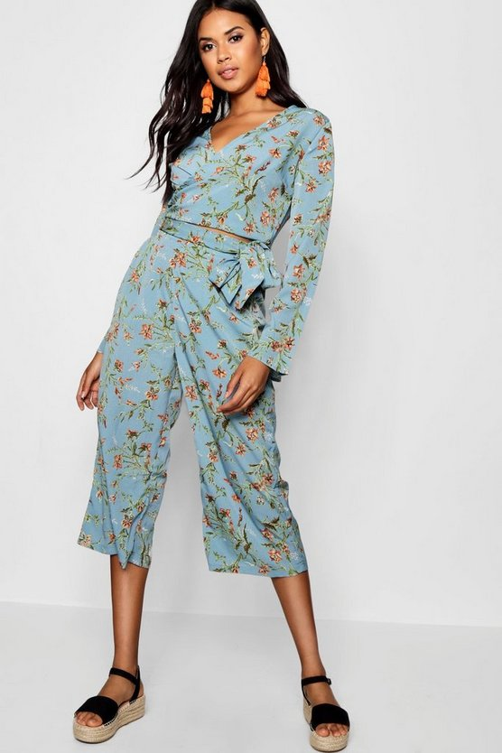 Floral Tie Front Top and Culotte Co-ord