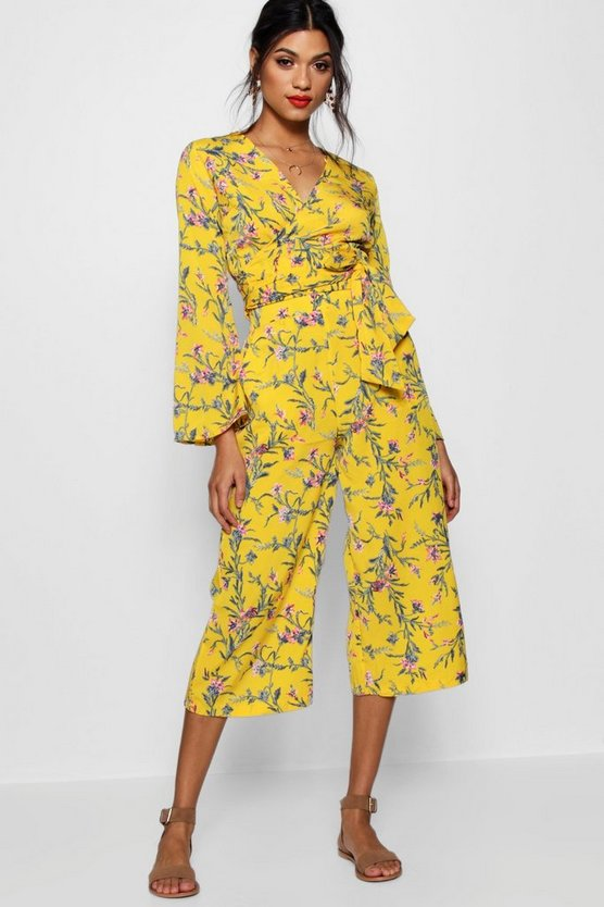 Wendy Floral Tie Front Top and Culotte Co-ord