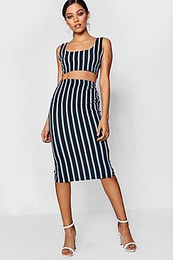 alivia stripe top and midi skirt co-ord