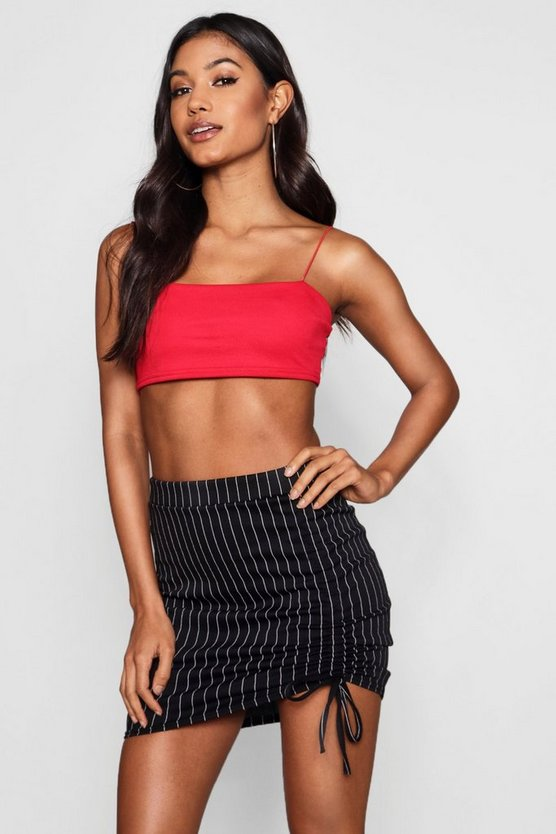 Allie Pinstripe Drawcord Mini Skirt