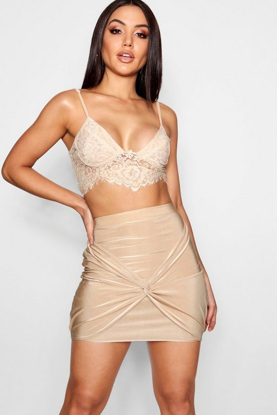 Knot Front Slinky Mini Skirt