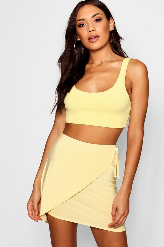 Wrap Front Tie Slinky Mini Skirt by Boohoo