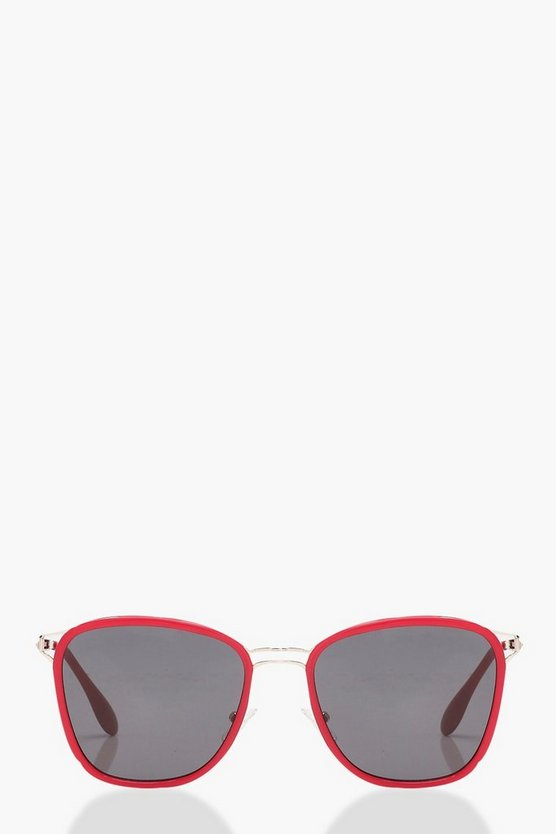 Rachel Retro Red Frame Sunglasses