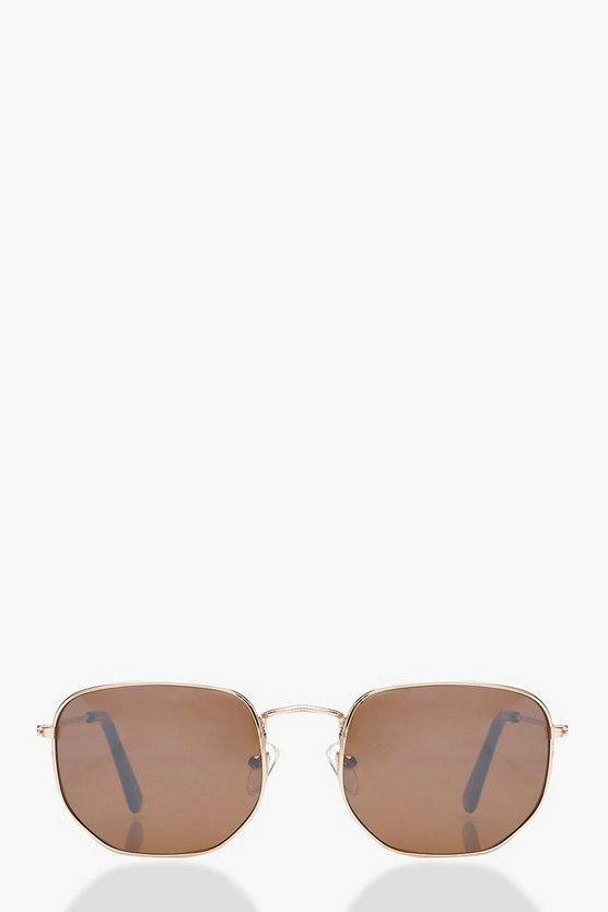 Yasmin Vintage Look Hexagon Round Sunglasses