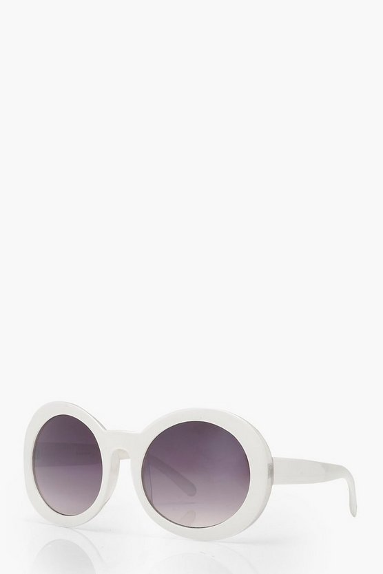 White Retro Oversized Round Sunglasses