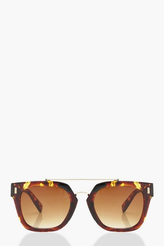 Square Frame Brow Bar Sunglasses