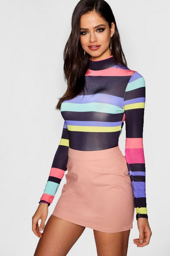 Jade Stripe High Neck Long Sleeve Body