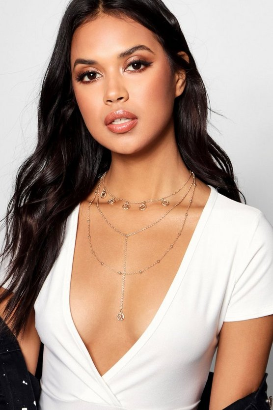 Coin Choker Trim Plunge Layered Necklace