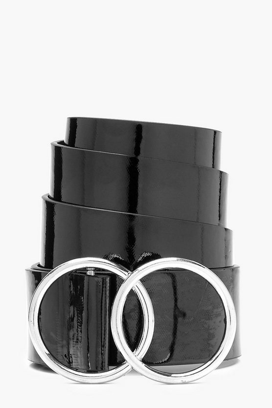 Hannah Double Ring Patent Boyfriend Belt