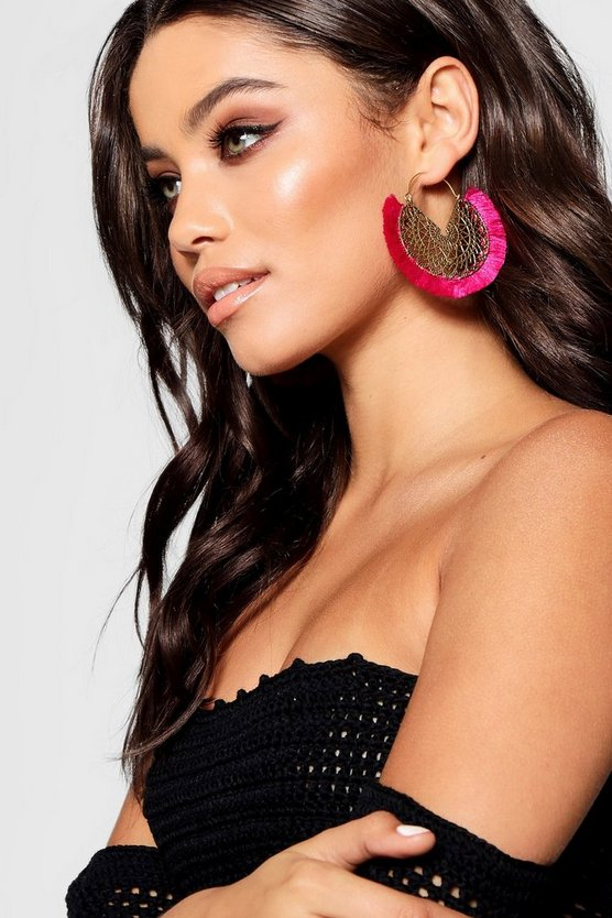 Bella Boho Filigree Fringed Tassel Earrings