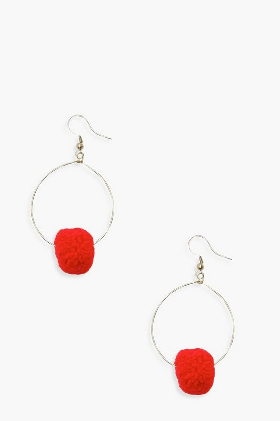 Pom Hoop Earrings