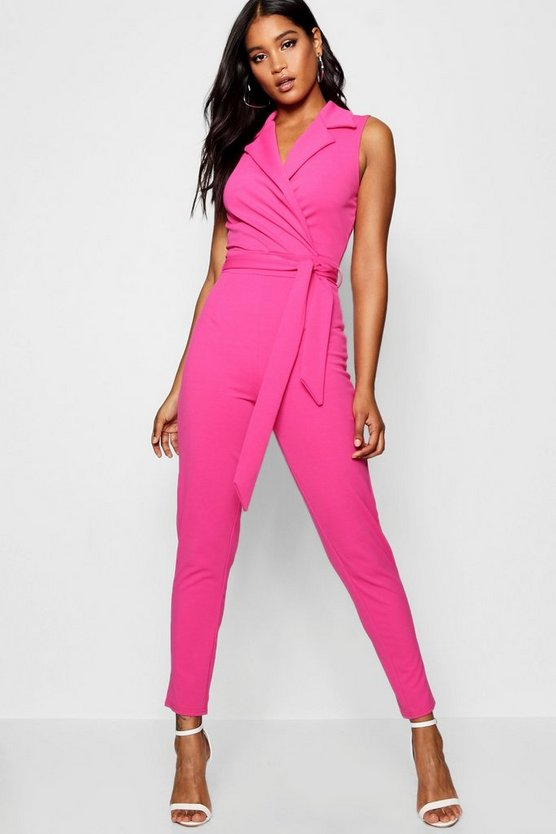 Ava Collared Belted Jumpsuit
