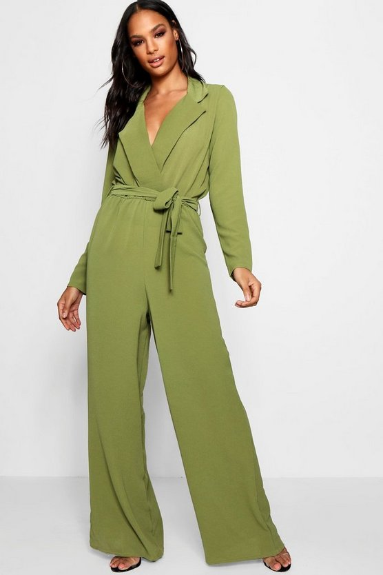 Wide Leg Lapel Wrap Belted Jumpsuit