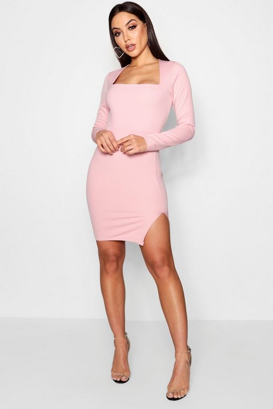 Amy Square Neck Long Sleeve Bodycon Dress