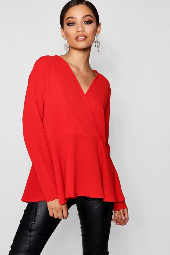 Annie Woven Wrap Over Blouse