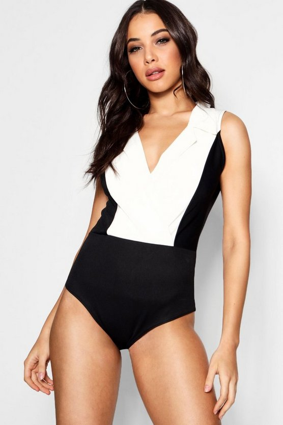 Collared Monochrome Bodysuit