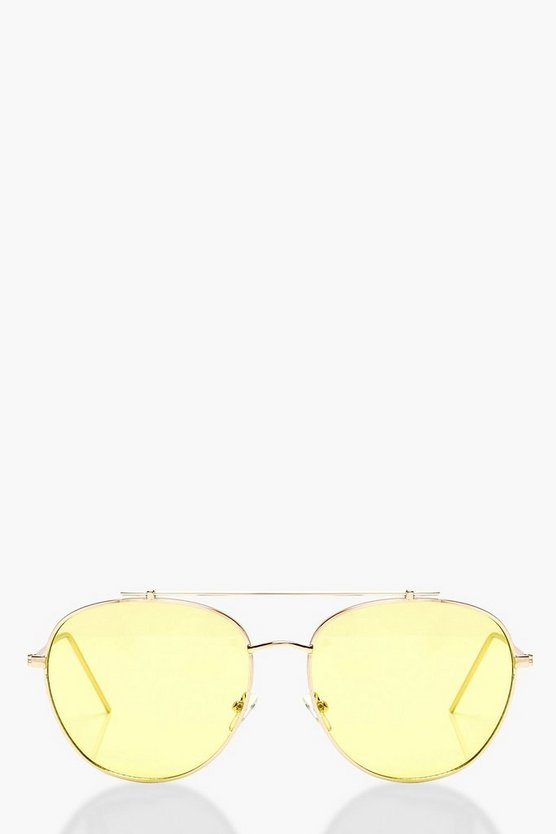 Ava Yellow Lens Aviator Sunglasses