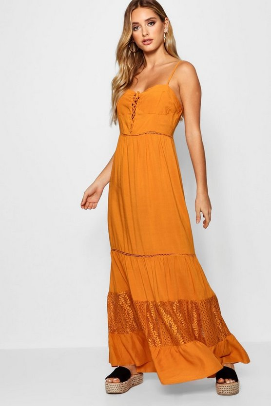 Bustier Lace Up Maxi Dress