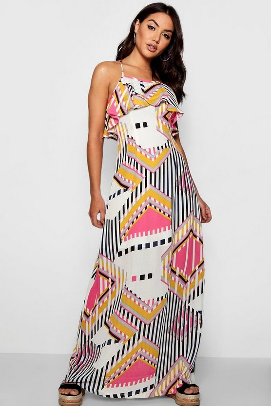 Dahlia Ruffle Backless Geo Maxi Dress