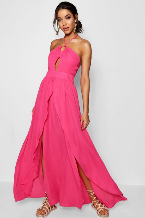 Rose Split Front Halterneck Maxi Dress
