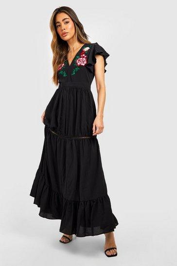 Black Embroidered Ruffle Hem Maxi Dress