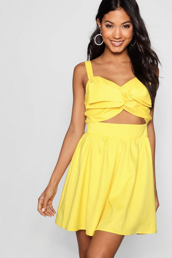 Leigh Large Twist Knot Front Skater Dress