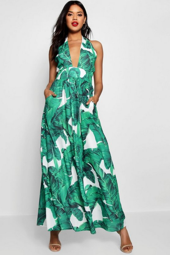 Maggie Palm Print Plunge Halterneck Maxi Dress