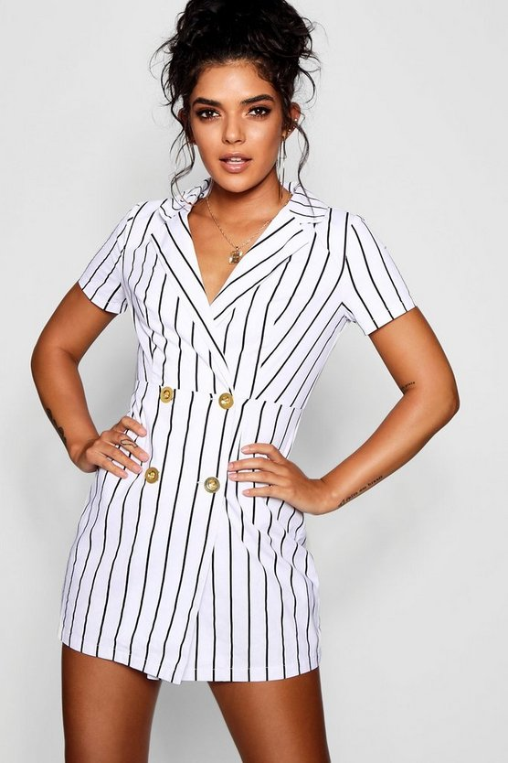 Striped Cap Sleeve Blazer Dress