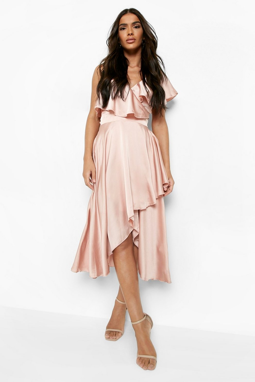 Boohoo Sabina Satin Wrap Detail Skater Dress Outlet Store Locations ...