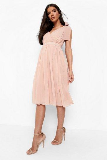 Blush Chiffon Pleated Midi Skater Bridesmaid Dress
