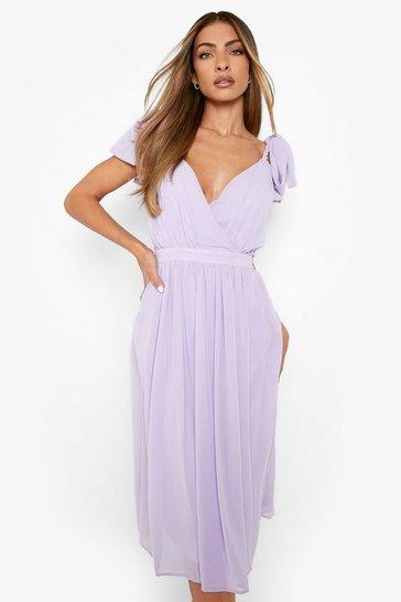 Lilac Chiffon Pleated Midi Skater Bridesmaid Dress