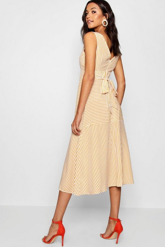 Penelope Stripes Plunge Neck Skater Dress