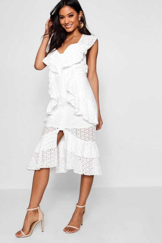 Anglais Ruffle Detail Midi Dress