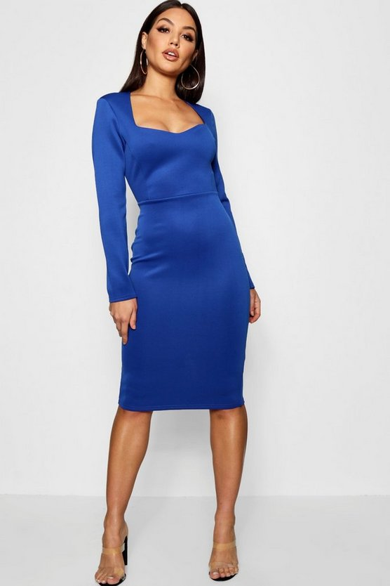 Annie Sweet Heart Neck Midi Dress
