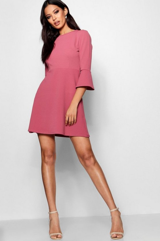 Flute Sleeve Skater Dress