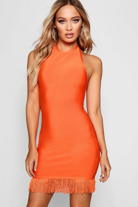 Honest Bandage Tassel Hem Bodycon Dress