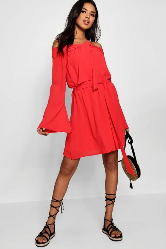 Katie Off The Shoulder Knot Front Shift Dress
