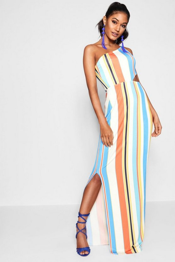 Dixie Cut Work One Shoulder Striped Maxi Dress