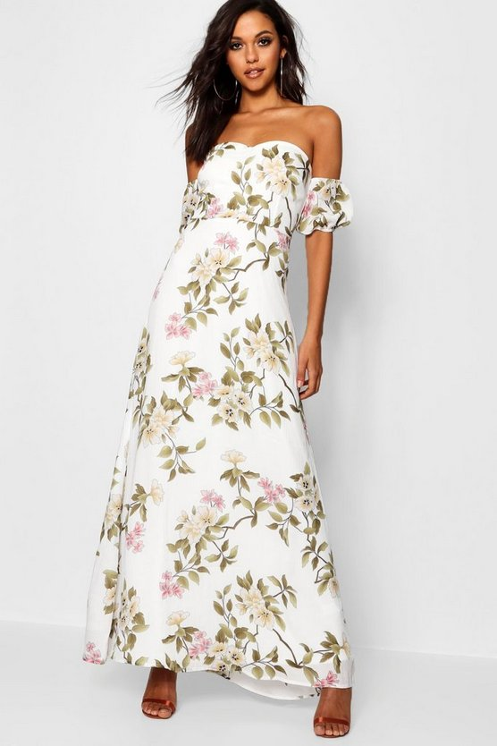 Satin Floral Off The Shoulder Maxi Dress