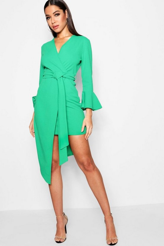 Teresa Asymmetric Belted Midi Dress